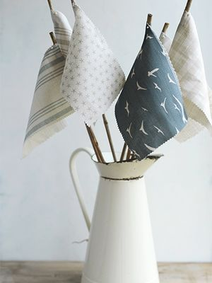 What a clever way to display fabric swatches.
