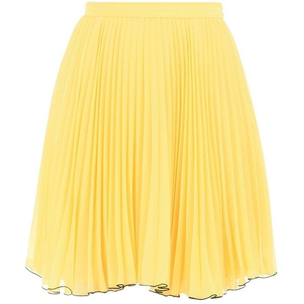 Boutique Moschino Knee Length Skirt (£198) ❤ liked on Polyvore featuring skirts, yellow, knee length skirts, yellow pleated skirt, zipper skirt, yellow skirts and boutique moschino