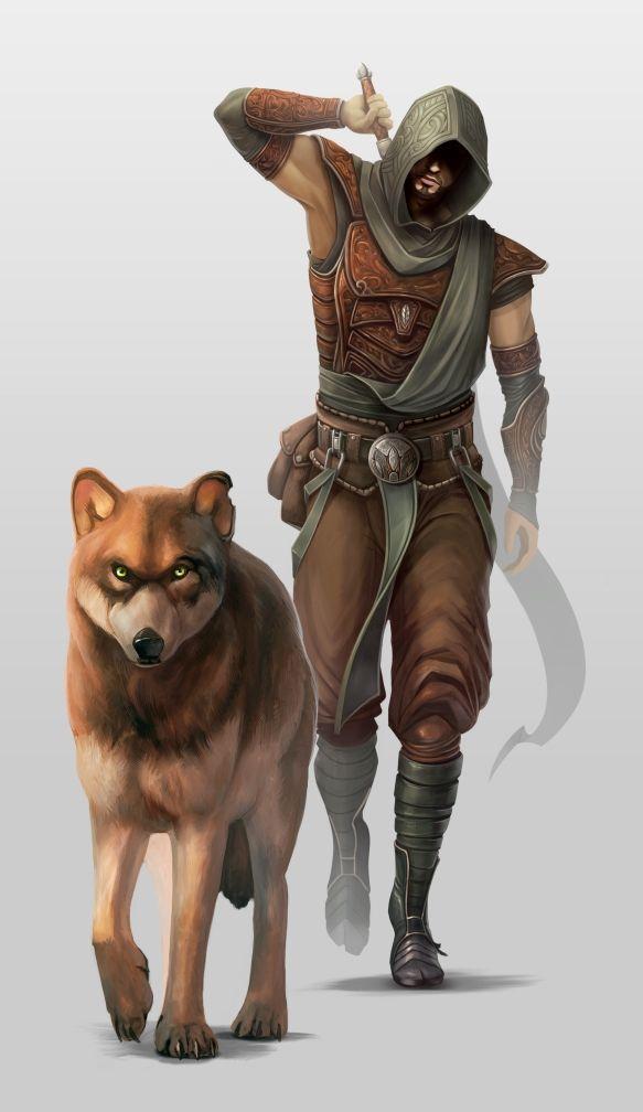 Jäger wit Wolf