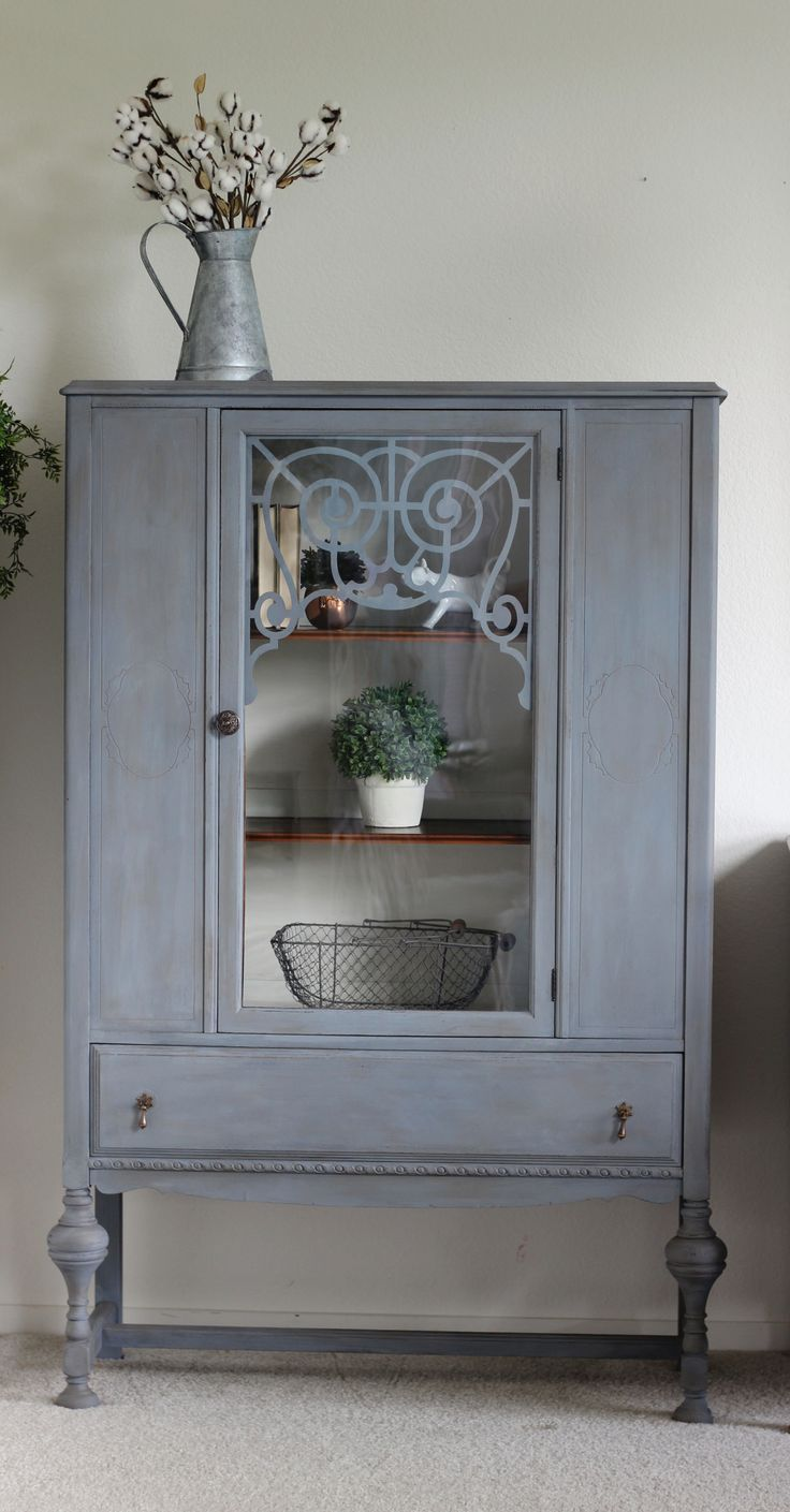 Custom mixed gray paint and antique wax glaze. Modern farmhouse antique china hutch