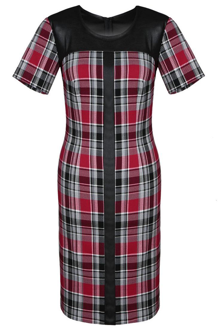 Sukienka FSU 646 kratka czerwono-czarna