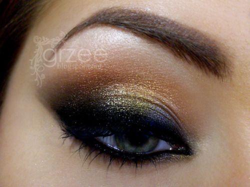 eyes: Makeup Geek, Eye Makeup, Color Combos, Eye Shadows, Dramatic Eye, Black Gold, Eyeshadows, Smokey Eye, Arabian Adventure