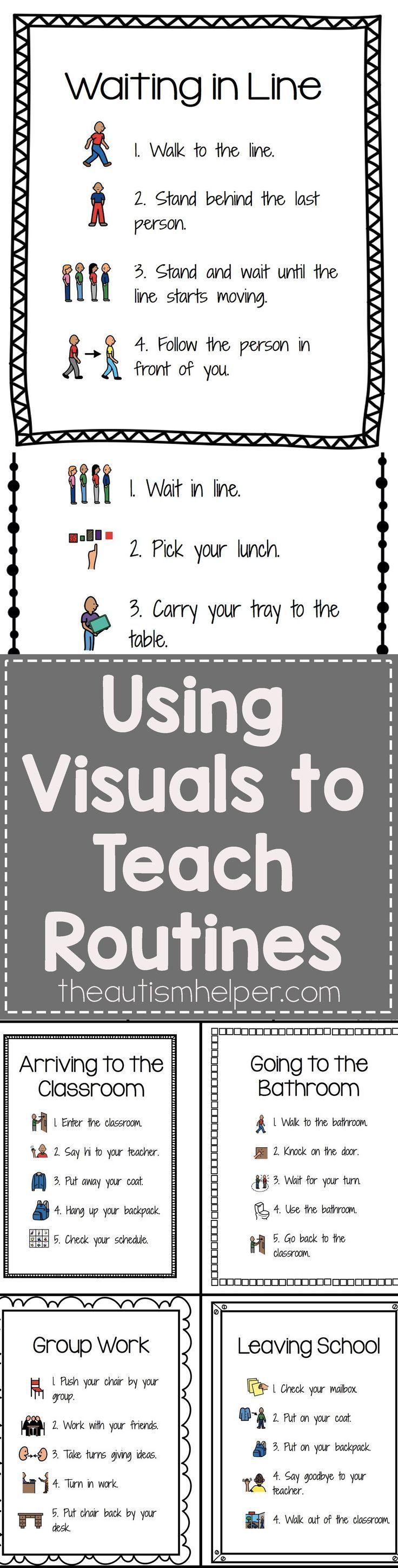 Check out our Visuals for Common Classroom Routines - Its editable (!!!) & includes 25 pre-made sets of visual step by step routines! From theautismhelper.com #theautismhelper
