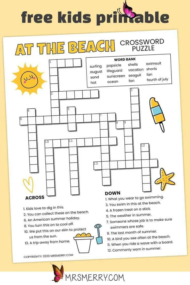Beach Crossword Puzzle For Kids Free Printable Mrs Merry Br Free Crossword Puzzle Printable For Kids Beach Themed Puzzle For Ages 6 10 Challenging Bra En 2020