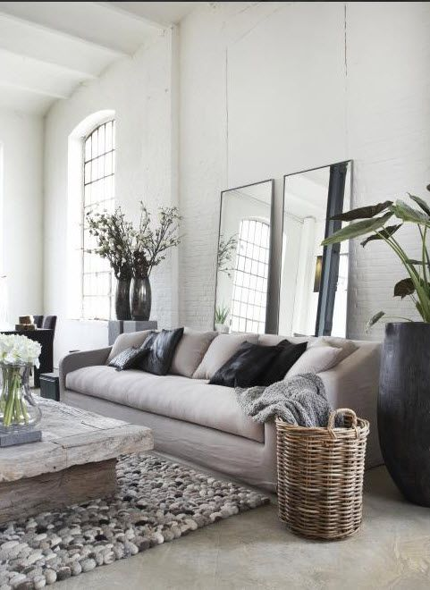 grey livingroom, carpet, robust rustic wooden table, large mirrors - better with some aged mirrors?