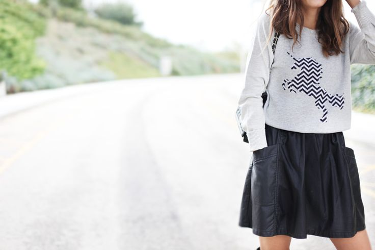 inspiración - falda de cuero con bolsillos