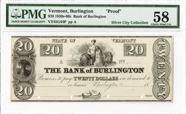 Bank of Burlington ca.1830's Obsolete Proof. - Burlington, Vermont, Bank of Burlington, 18xx (ca.1830's), $20, Plate A, VT-45-G44, Proof banknote, black on india paper, Seated allegorical woman with sword and lion with steamboat in background, left with sheaves of wheat, Native American in canoe on bottom, POC's, PMG graded Choice About Uncirculated 58 condition. Durand, Perkins & Co., New York imprint. Found only in proof. (ex.Silver City Collection, AIA Sale VIII, 2011). #Banknotes #MADonC