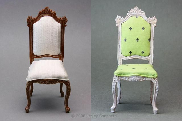 Upholster Cushions for Wooden Dolls House Chairs: Comparison of Old and New Upholstery on a Dolls House Chair