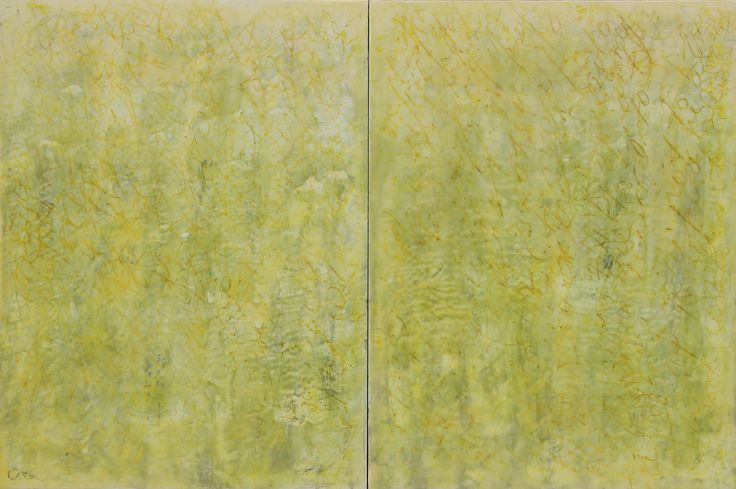 """""""Meadow"""" by Patricia Dusman - 36 x 24, encaustic and oil, at the J. A. Willy Gallery in Naples, Florida."""