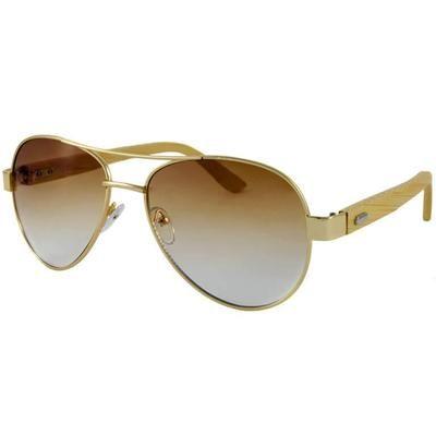 """Ξύλινα Γυαλιά Ηλίου Bamboo Aviators """"BROWN""""-BROWN-e-chap"""