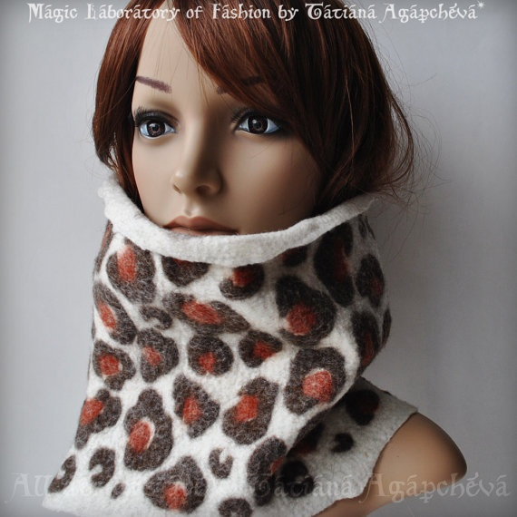 Leopard Scarf Cowl Felted Merino New 2013 Animal by TianaCHE, $140.00