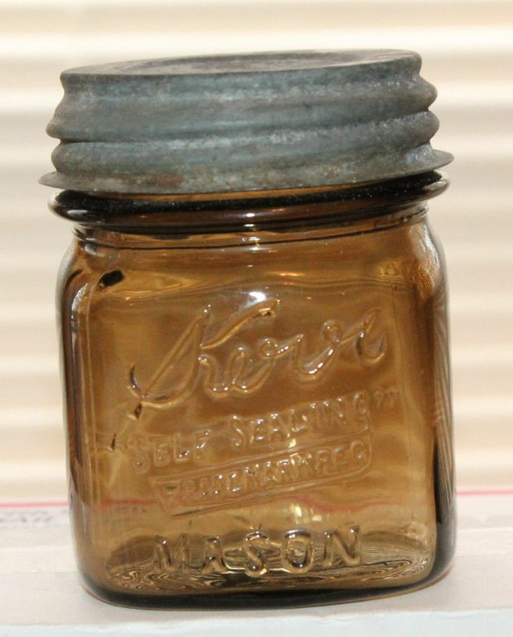 AMBER TOPAZ Kerr Mason Square 1/2 Pint Canning Fruit Jar Half Pint {love.. I have some square bottom 1/2 pint jars in clear.. I wish I had some of these amber colored ones }