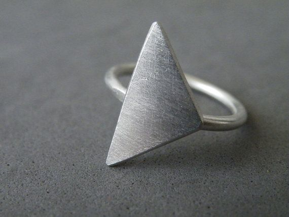 Sterling Silver Triangle Ring Geometric Modern Ring Dainty Minimalist Ring by SteamyLab