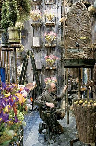 Sculptor, designer, florist & all out Renaissance man, Tage Andersen opened his first flower boutique in 1967 & his use of old wired birdcages, mirror pieces, rusting iron & rotting fruit in sculptures is breathtakingly beautiful.