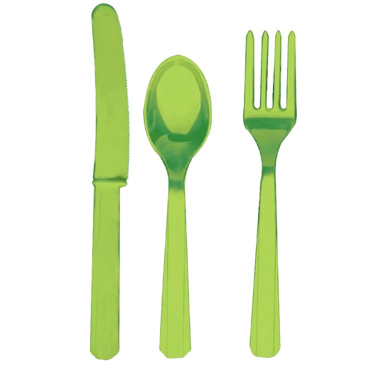 Kiwi Green Plastic Cutlery Set - Children's Party Supplies - Party Ark