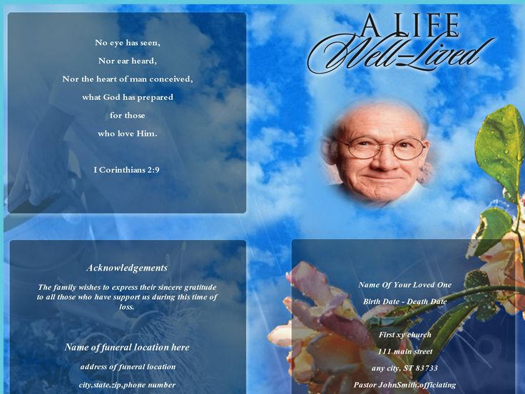 37 best funeral program samples images on Pinterest Christmas - free funeral program template microsoft word