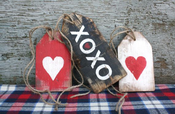 FREE SHIP XoXo Happy Valentine's Heart Love wood Wreath Tags Day Rustic by TheUnpolishedBarn