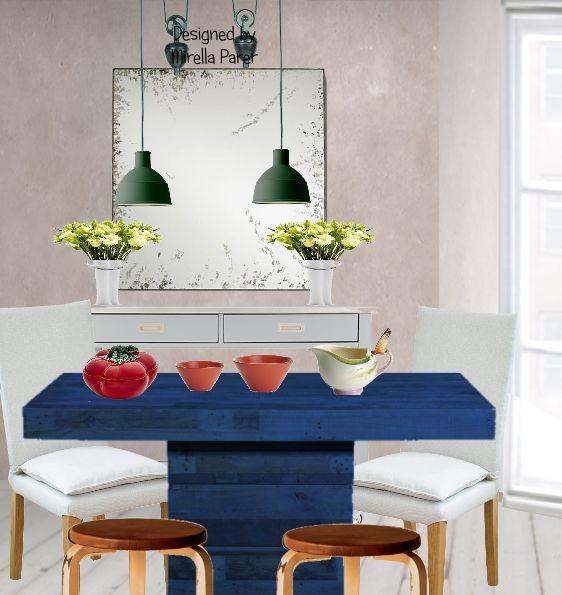 Tavolo blu collage virtuale di Mirella Parer