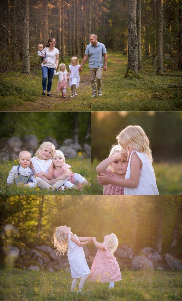 Family photosession in golden hour by Swedish photographer Maria Lindberg. Familjefotografering med Fotograf Maria Lindberg. www.fotografmarialindberg.se