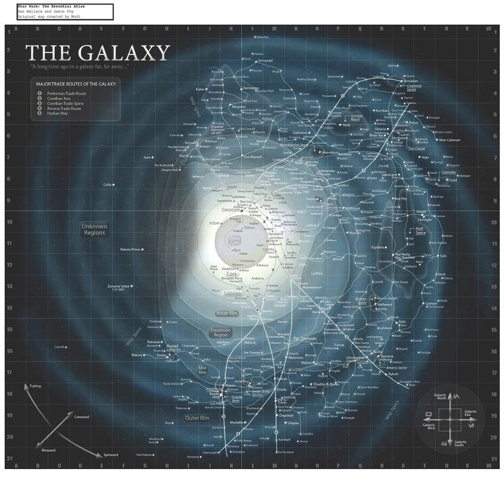 The most complete Star Wars Universe star chart compiled to date. From Star Wars: The Essential Atlas