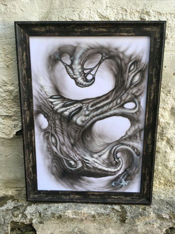 Original black and grey airbrush painting framed