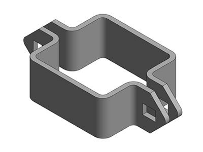 A palisade post clamp has four slots at the two opposite sides.