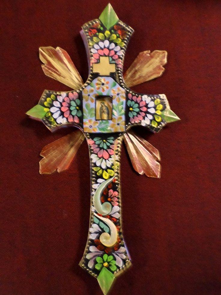 ":D Large Mexican Folk Art Painted 3D Tin Cross Virgin Guadalupe Nicho 9x17"""