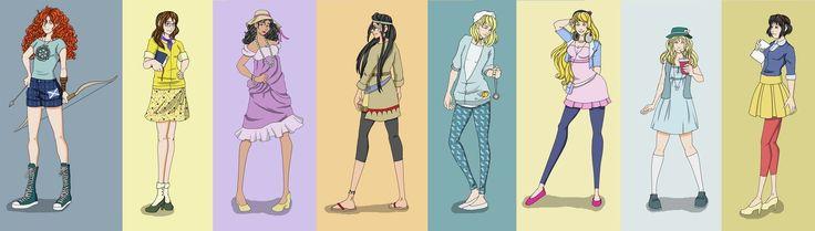 Hipster Disney Princesses part 2: Merida, Jane, Esmeralda, Pocahontas, Cinderella, Aurora, Alice and Snow White