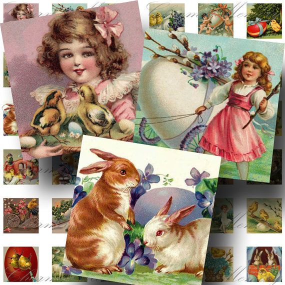 Vintage Easter Printable Digital Collage by CharmedMemoryCollage, $3.50