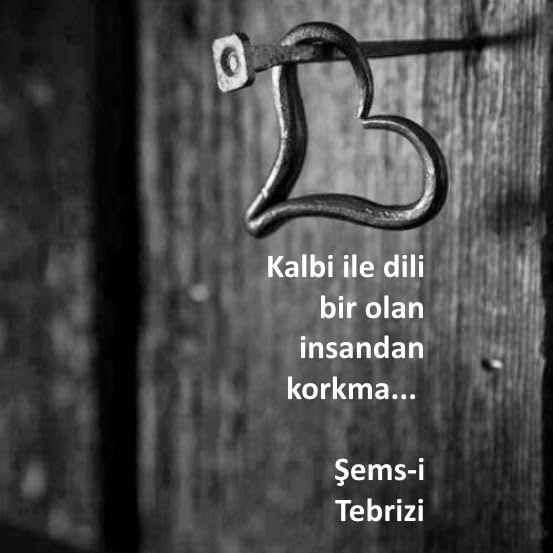 Kalbi ile dili bir olan insandan korkma... Şems-i Tebrizi