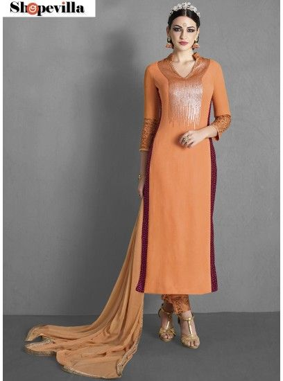 Orange Bhagalpuri Silk Straight Cut Suit-1012-A