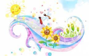 детские обои, солнце, бабочки, цветы, улыбки, завиток