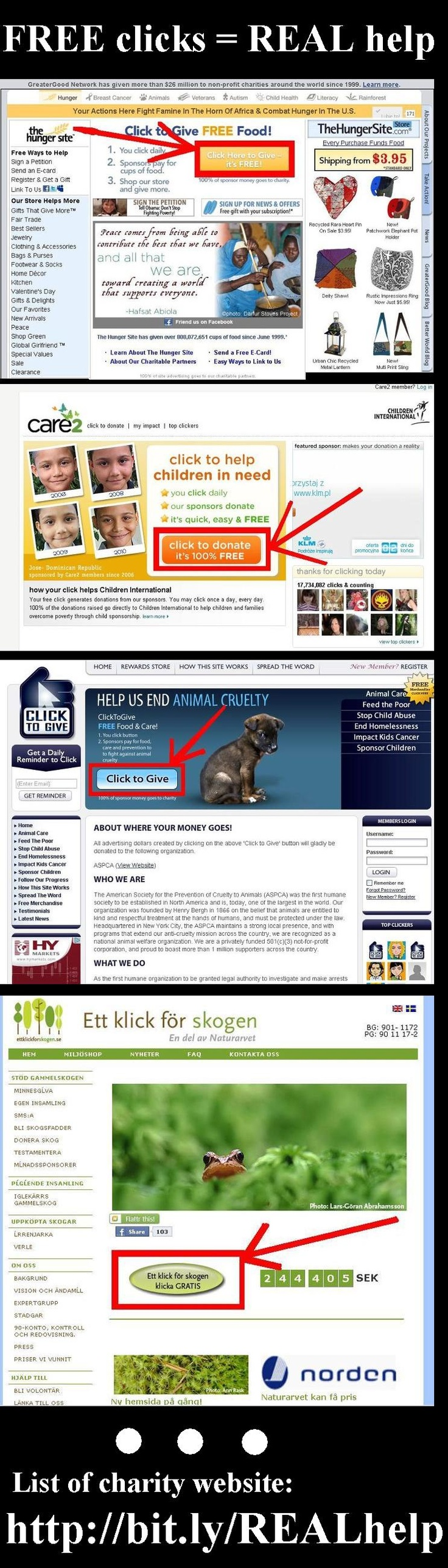 Your click can helped!     Please SHARE this list/pin    https://www.facebook.com/notes/free-clickreal-help/list-of-charity-website-sort-by-language/141115852672736    #help #free
