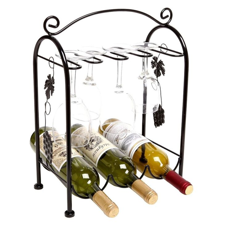 Grape Arbor Style Tabletop Floor Wine And Glass Rack Storage In Black Mygift Weinregal Ideen Weinflasche Weinregal Wand