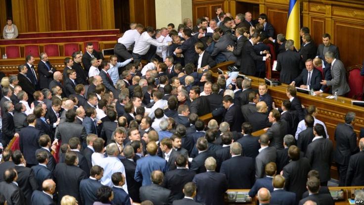 Ukraine Parliament's Fisticuffs In Photos