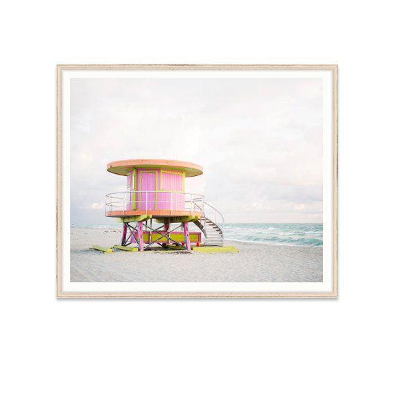 Pink Lifeguard Tower Print Miami Beach Wall Art Nursery Wall Art