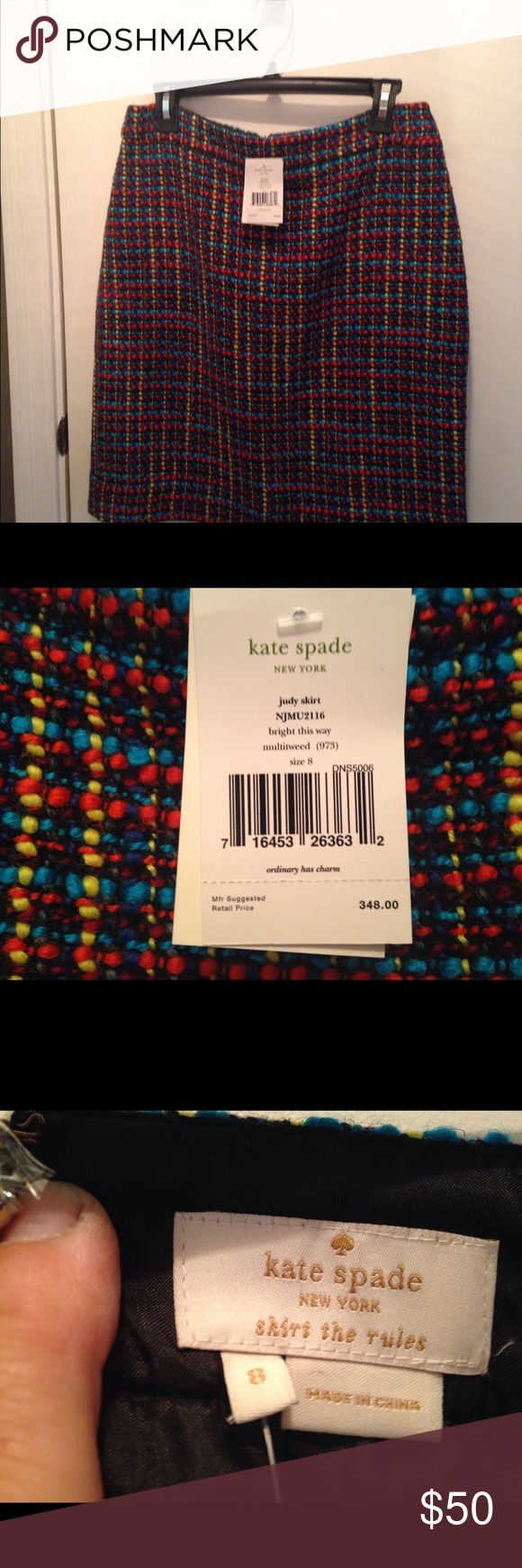 NWT - Kate Spade tweed skirt New with tags genuine Kate Spade knobby tweed skirt with kick pleat.  Acrylic wool blend with lining and exposed back zip.  Original price  suggested retail price $348 kate spade Skirts Midi