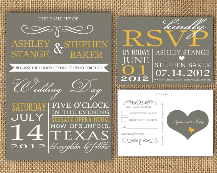 Elegant Wedding Invites: Gray And Poppy Yellow Wedding Invitation And RSVP Post Card
