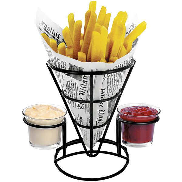Retro French Fry Cone with Sauce Dippers | Chip Cone Holder Fast Food Basket - Buy at drinkstuff