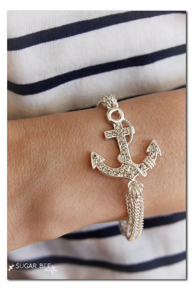 #DIY Nautical Chain Bracelet Tutorial from @Kay Richards Little Bee Crafts for our #craftmonthlove National Craft Month Blogger Campaign.
