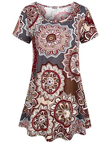 0dfbcb255b Hibelle Womens Shirts To Wear With Leggings, Ladies Short Sleeve Floral  Printed Flower Blouse Modern Casual Loose Fit Flare Summer Tunic Tops T Shirt  Plus ...