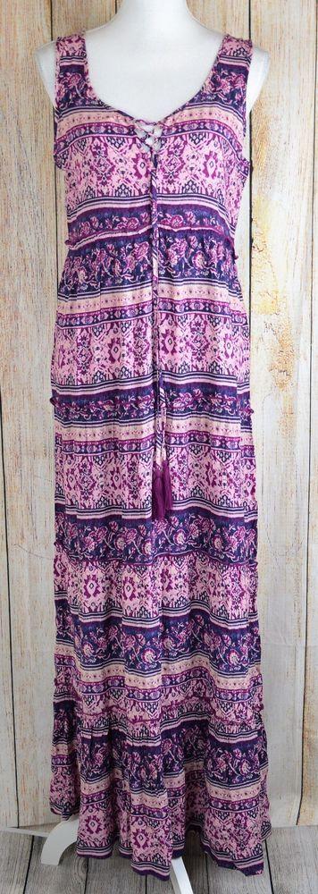Beach Lunch Lounge Terrie Maxi Dress Boho Hippie Festival Tassels Purple Small S #BeachLunchLounge #MaxiDress #Casual