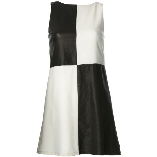 Mave Colorblock Dress With Leather (215 CAD) ❤ liked on Polyvore featuring dresses, vestidos, women, black and white shift dress, color block dress, checkered dress, black white dress and mod shift dresses