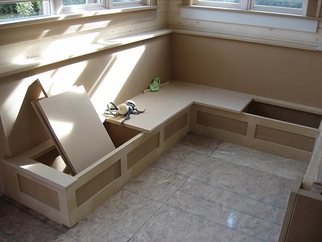Built In Bench In Basement With Cushion For Extra Seating