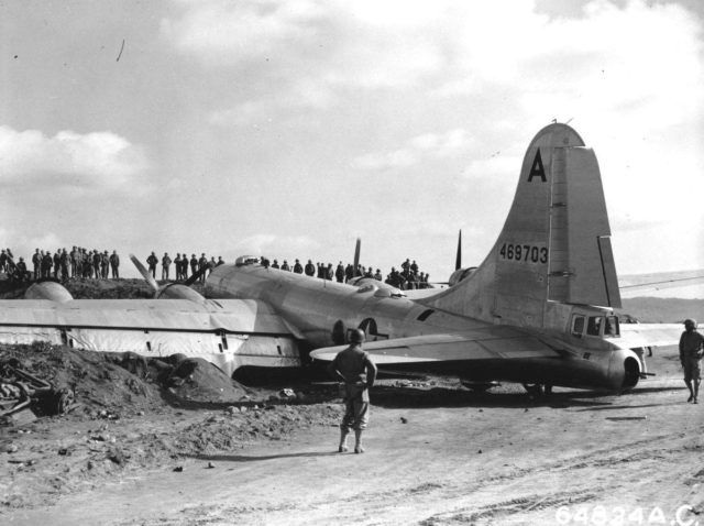 B-29 crash-landed on Motoyama Airfield, Iwo Jima, Bonin Islands, after fighters disabled two engines on a bombing run over Osaka, 10 March 1945
