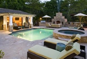 Modern Swimming Pool with Dcor design riverside patio chaise lounge with cushion, Trellis, Outdoor kitchen, Pool with hot tub