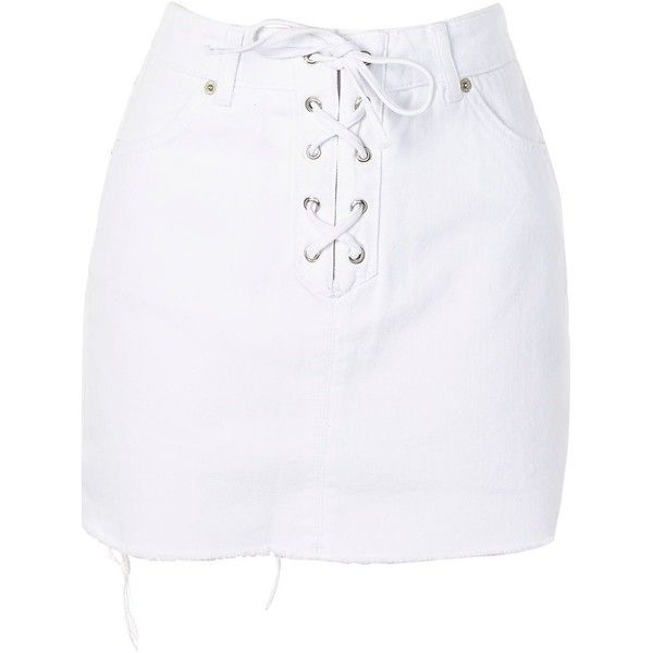Topshop Moto Tie Front Denim Skirt ($23) ❤ liked on Polyvore featuring skirts, mini skirts, bottoms, white, white short skirt, short denim skirts, denim skirts, lace up skirt and short skirts
