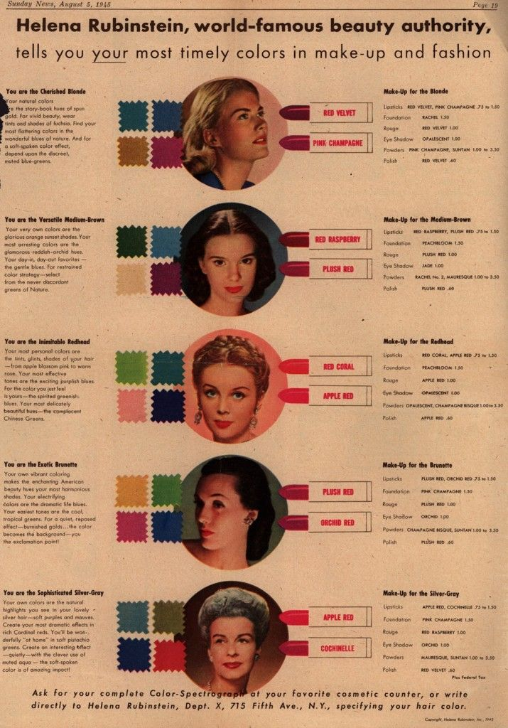 """A 1945 Helena Rubinstein ad explains her """"Color-Spectograph"""" approach to makeup. Click on the image to see a larger version. (Via Vintage Ad Browser)"""