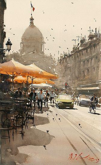 Sunny Day, Paris by Joseph Zbukvic - Greenhouse Gallery of Fine Art