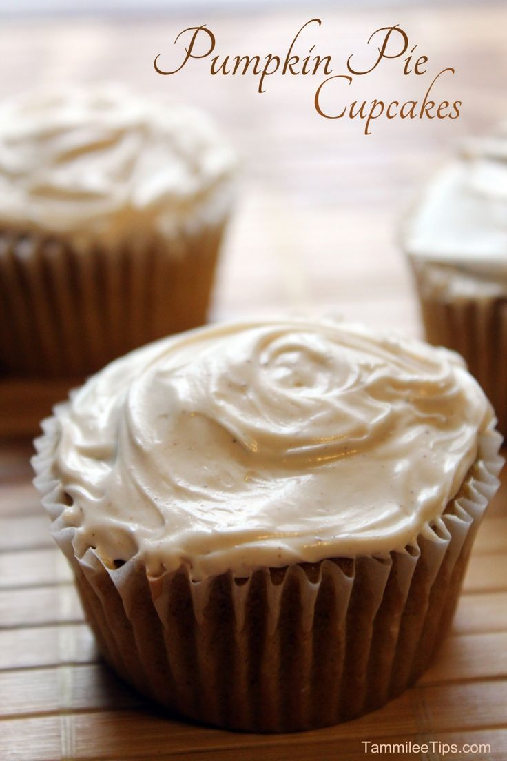 Pumpkin Pie Cupcakes! The perfect Fall cupcakes! These cupcakes taste amazing and are perfect for Thanksgiving or really any day of the week.